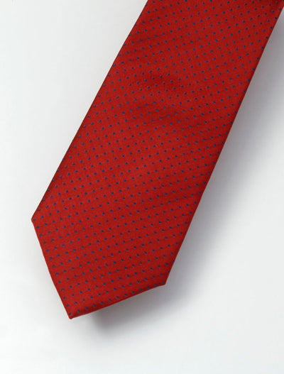 Men's Scarlet Red & Navy Polka Dotted 100% Silk Tie