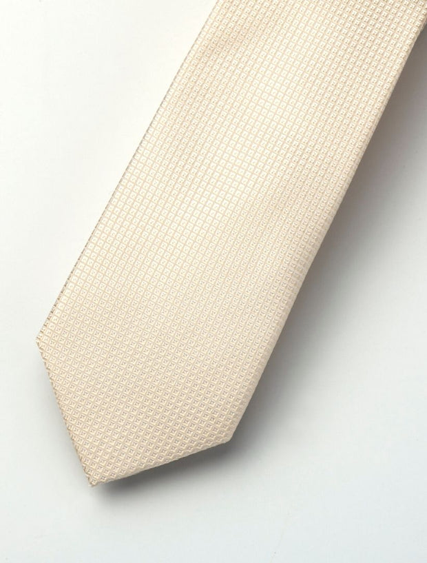 Men's Cream Micro-Checkered 100% Silk Tie