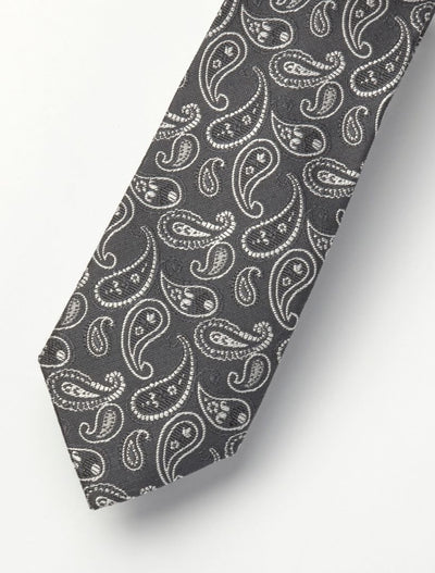 Men's Black & Charcoal Paisley 100% Silk Tie