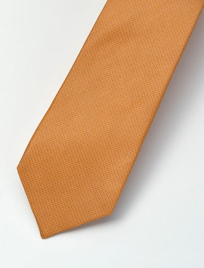 Men's Marmalade Orange Micro-Checkered 100% Silk Tie