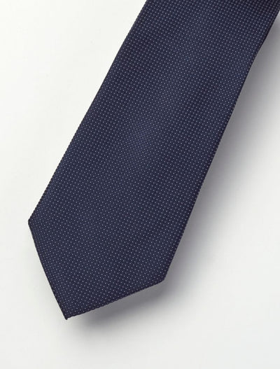 Men's Midnight Blue Micro-Polka Dotted 100% Silk Tie