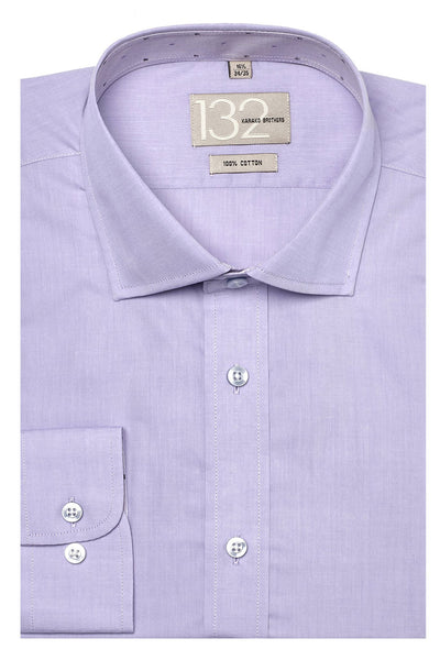 Men's Solid Lavender Crisp 100% Cotton Tailored Fit Dress Shirt