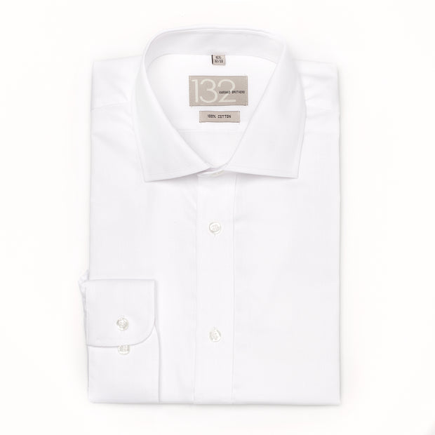 Men's Solid White Crisp 100% Cotton Tailored Fit Dress Shirt