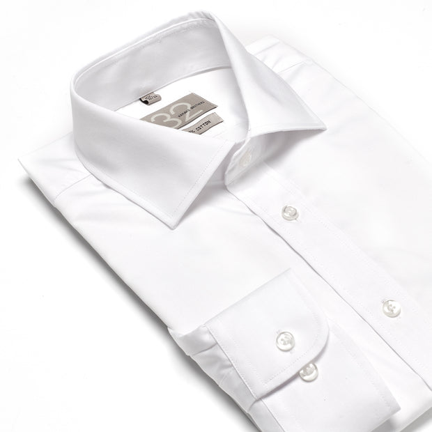 Men's Solid White Crisp 100% Cotton Tailored Fit Dress Shirt - Showcasing Contrast Fabric