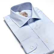 Men's Solid Light Blue Crisp 100% Cotton Tailored Fit Dress Shirt
