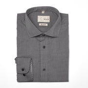 Men's Textured Solid Granite Charcoal 100% Cotton Tailored Fit Dress Shirt