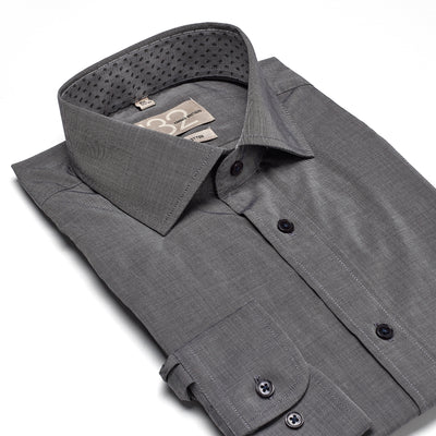 Men's Textured Solid Granite Charcoal 100% Cotton Tailored Fit Dress Shirt - Showcasing Contrast Fabric