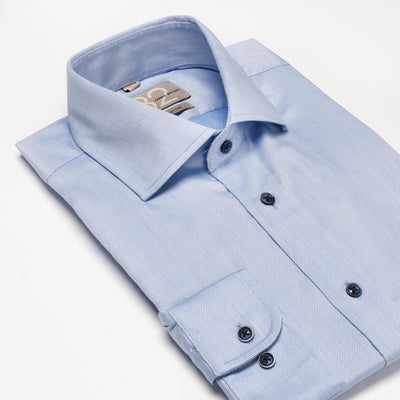 Men's Textured Solid Sky Blue 100% Cotton Tailored Fit Dress Shirt - Showcasing Contrast Fabric