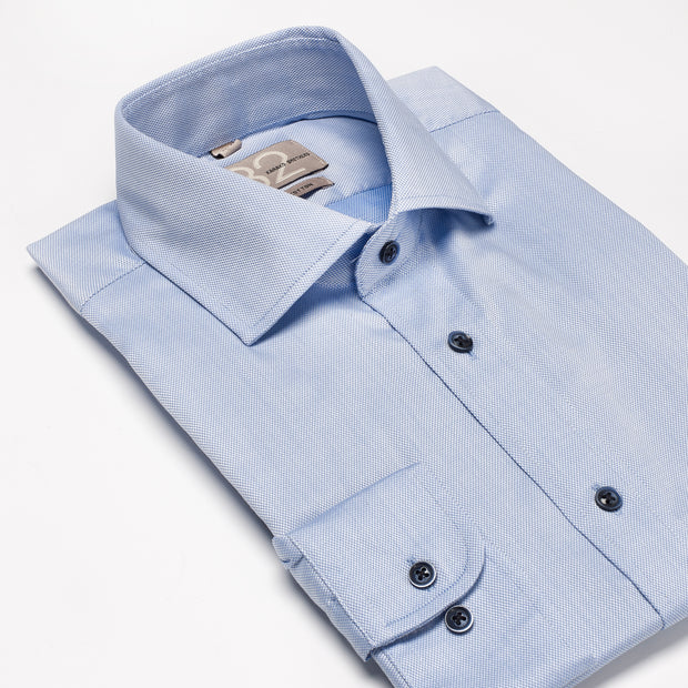 Men's Textured Solid Sky Blue 100% Cotton Tailored Fit Dress Shirt