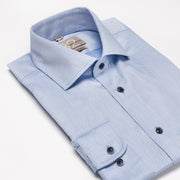Men's White & Navy Patterned 100% Cotton Tailored Fit Dress Shirt