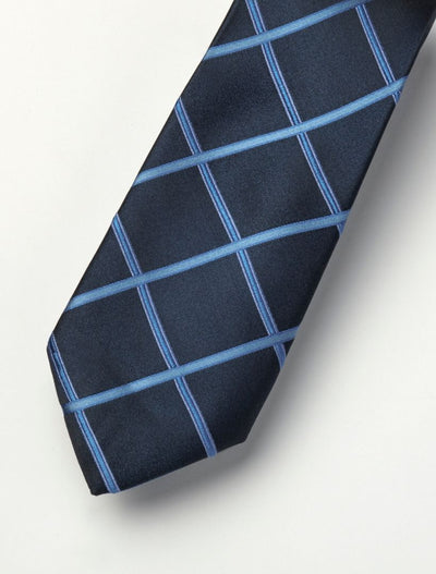 Men's Navy & Powder Blue Cubes Patterned 100% Silk Tie