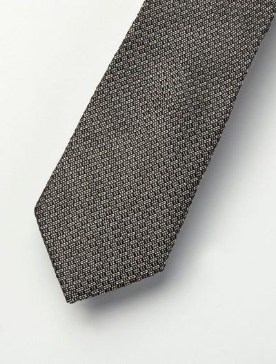 Men's Onyx Black & Ivory Patterned 100% Silk Tie