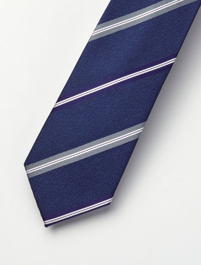 Men's Oxford Blue, Navy, Grey & White Striped 100% Silk Tie