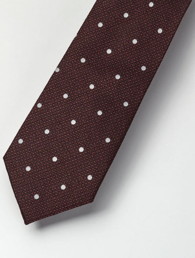 Men's Dark Burgundy & White Polka Dotted 100% Silk Tie
