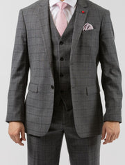 Men's Light Grey & Black Plaid Vested Slim Fit Suit by FUBU - Front Close Up