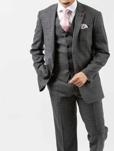 Men's Light Grey & Black Plaid Vested Slim Fit Suit by FUBU - Front