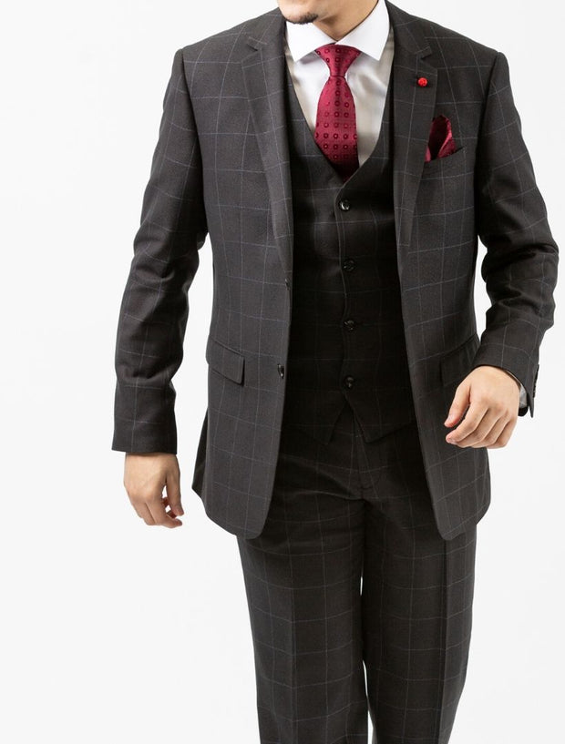 Men's Charcoal Windowpane Vested Slim Fit Suit by FUBU - Front