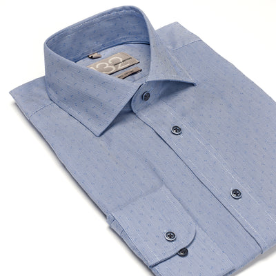 Men's Muted Powder Blue & Blue Patterned 100% Cotton Tailored Fit Dress Shirt - Showcasing Contrast Fabric