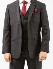 Men's Charcoal Windowpane Vested Slim Fit Suit by FUBU - Front Close Up
