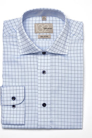 Men's Powder Blue & Navy Checkered 100% Cotton Tailored Fit Dress Shirt