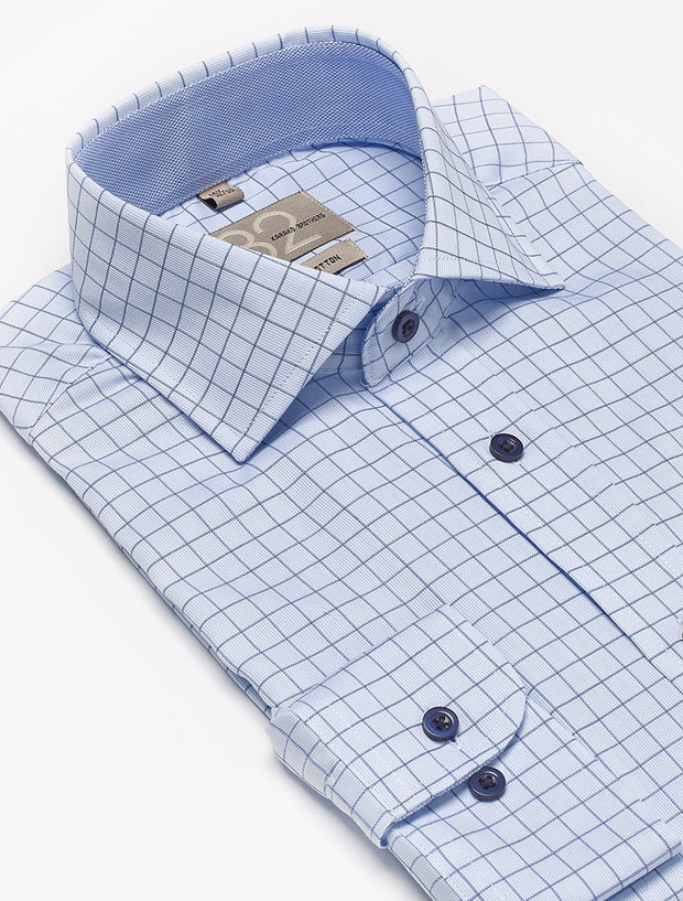 Men's Powder Blue & Navy Checkered 100% Cotton Tailored Fit Dress Shirt - Showcasing Contrast Fabric