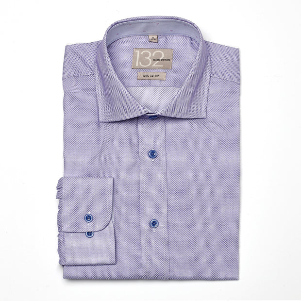 Men's Textured Dotted Lavender 100% Cotton Tailored Fit Dress Shirt