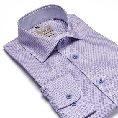 Men's Textured Dotted Lavender 100% Cotton Tailored Fit Dress Shirt - Showcasing Contrast Fabric