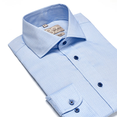 Men's Muted Powder Blue Die Cut Striped 100% Cotton Tailored Fit Dress Shirt - Showcasing Contrast Fabric