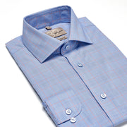 Men's Powder Blue & Orange Plaid 100% Cotton Tailored Fit Dress Shirt