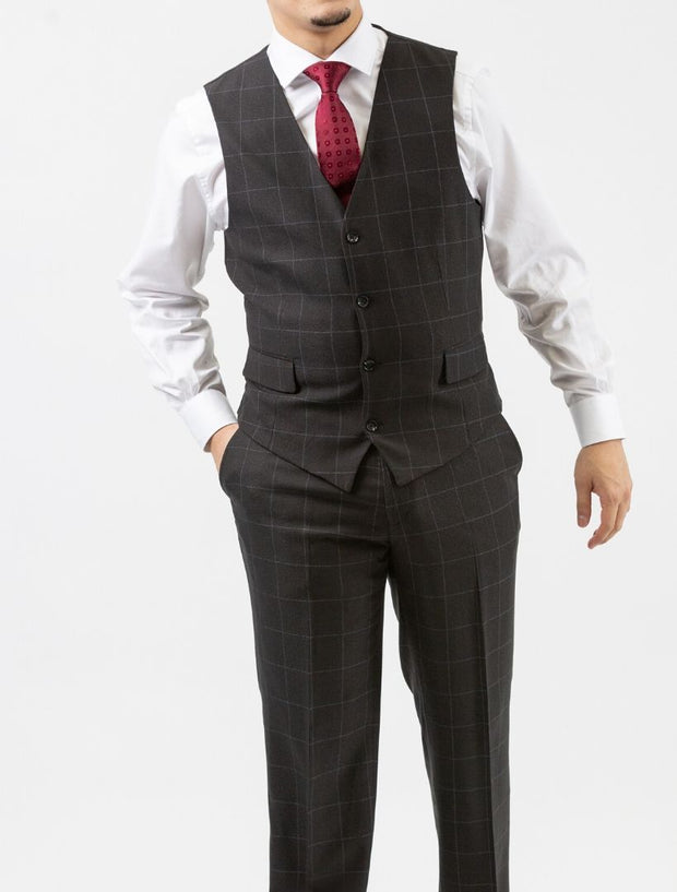 Men's Charcoal Windowpane Vested Slim Fit Suit by FUBU - Model Wearing Vest