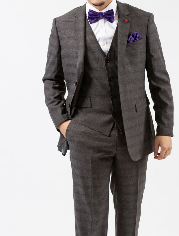 Men's Grey Plaid Windowpane Vested Slim Fit Suit by FUBU - Front