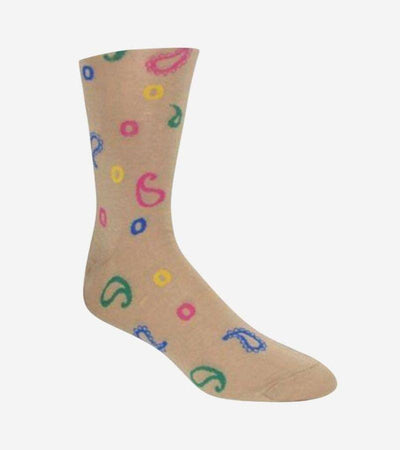 Men's Tan Multi-Colored Patterned Socks