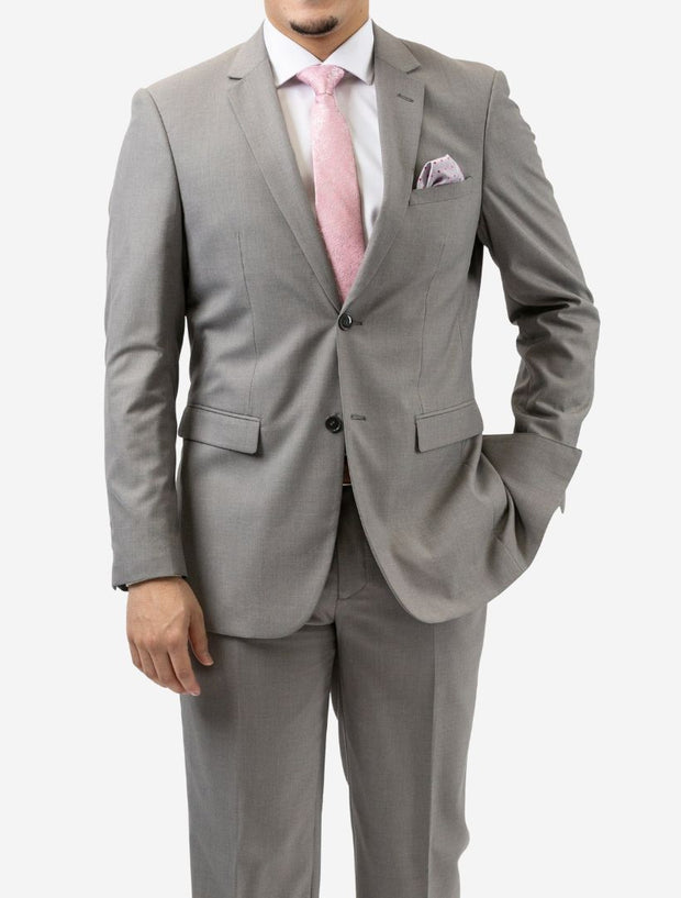 Karako Men Light Grey Slim Fit Suit - Front View