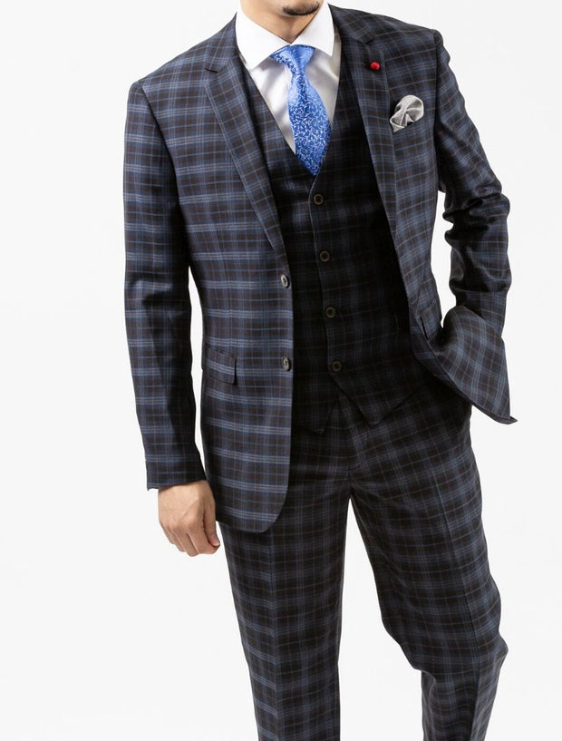 Men's Navy & Black Plaid Vested Wool Slim Fit Suit by FUBU