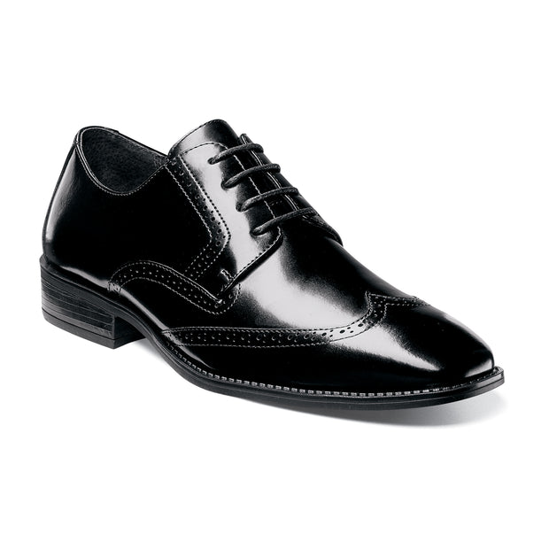Stacy Adams Onyx Black Wide-Fit Adler Wingtip Oxford Shoes
