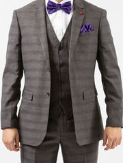 Men's Grey Plaid Windowpane Vested Wool Slim Fit Suit by FUBU
