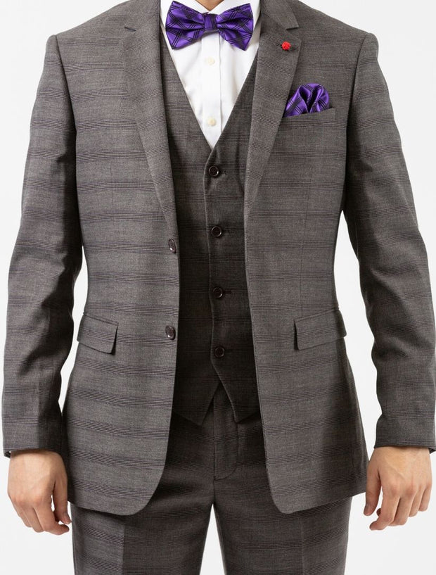 Men's Grey Plaid Windowpane Vested Slim Fit Suit by FUBU - Front Close Up