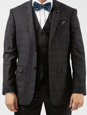 Men's Dark Heather Charcoal Plaid Vested Slim Fit Suit by FUBU - Front Close Up