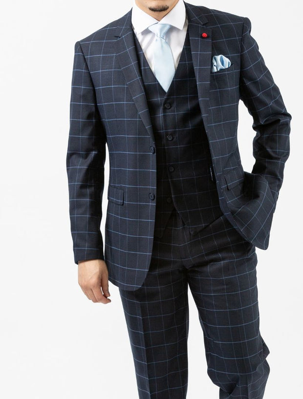 Men's Navy Windowpane Vested Wool Slim Fit Suit by FUBU