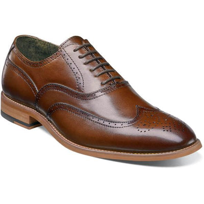 Stacy Adams Cognac Dunbar Wingtip Oxford Shoes