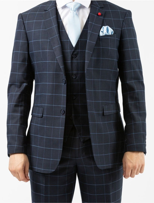 Men's Navy Windowpane Vested Slim Fit Suit by FUBU - Front Close Up