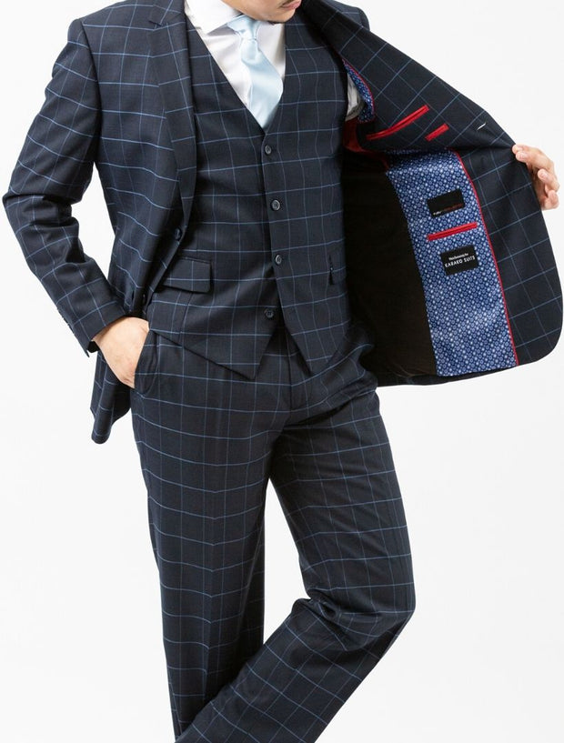 Men's Navy Windowpane Vested Slim Fit Suit by FUBU - Front (Showing Inside of Left Jacket)