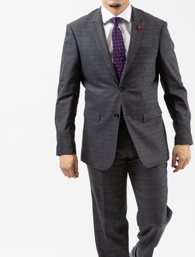 Men's Grey & Black Plaid Slim Fit Suit by FUBU - Front Close Up