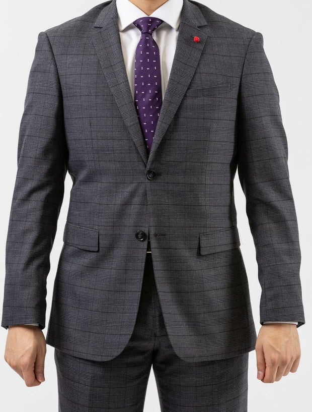 Men's Grey & Black Plaid Wool Slim Fit Suit by FUBU