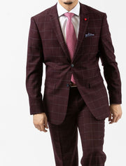 Men's Burgundy Windowpane Slim Fit Suit by FUBU - Front