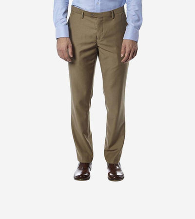 Beige Trim Fit Dress Pants