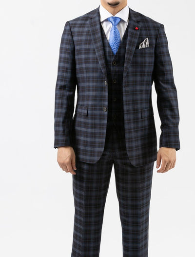 Men's Navy & Black Plaid Vested Slim Fit Suit by FUBU - Front