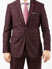Men's Burgundy Windowpane Slim Fit Suit by FUBU - Front Close Up