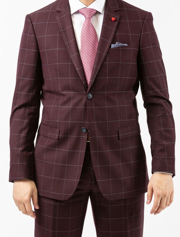 Men's Burgundy Windowpane Wool Slim Fit Suit by FUBU