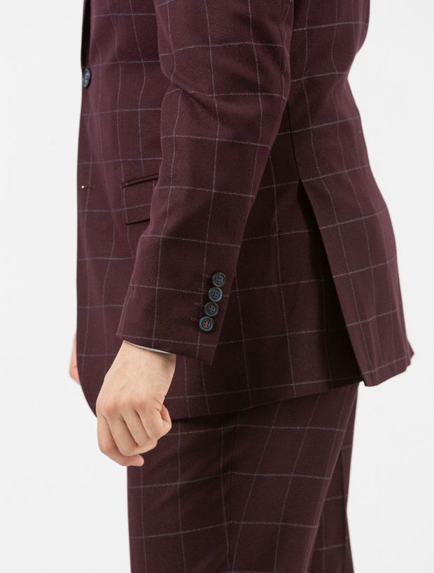 Men's Burgundy Windowpane Slim Fit Suit by FUBU - Side